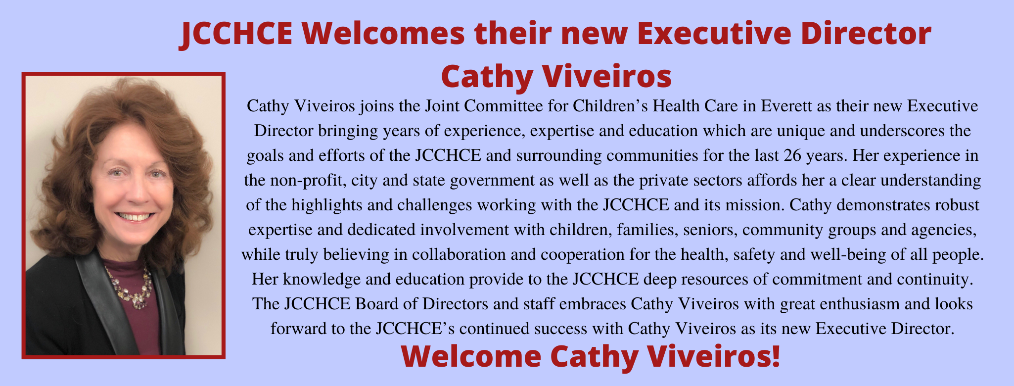 JCCHCE Welcomes Cathy Viveiros
